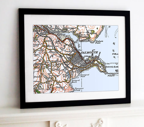 Framed Map - Custom Vintage Ordnance Survey Map - 1920's