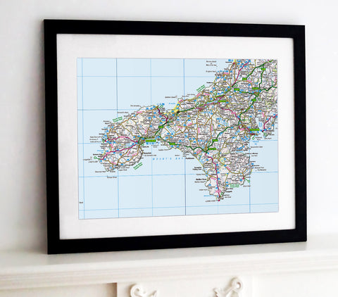 Framed Map - Custom Ordnance Survey Regional Map
