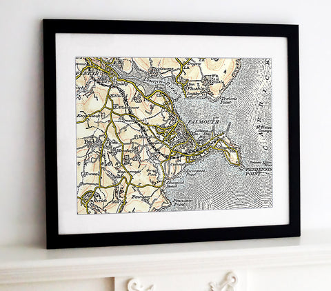 Framed Map - Custom Vintage Ordnance Survey Map - Revised New Series 1897-1904