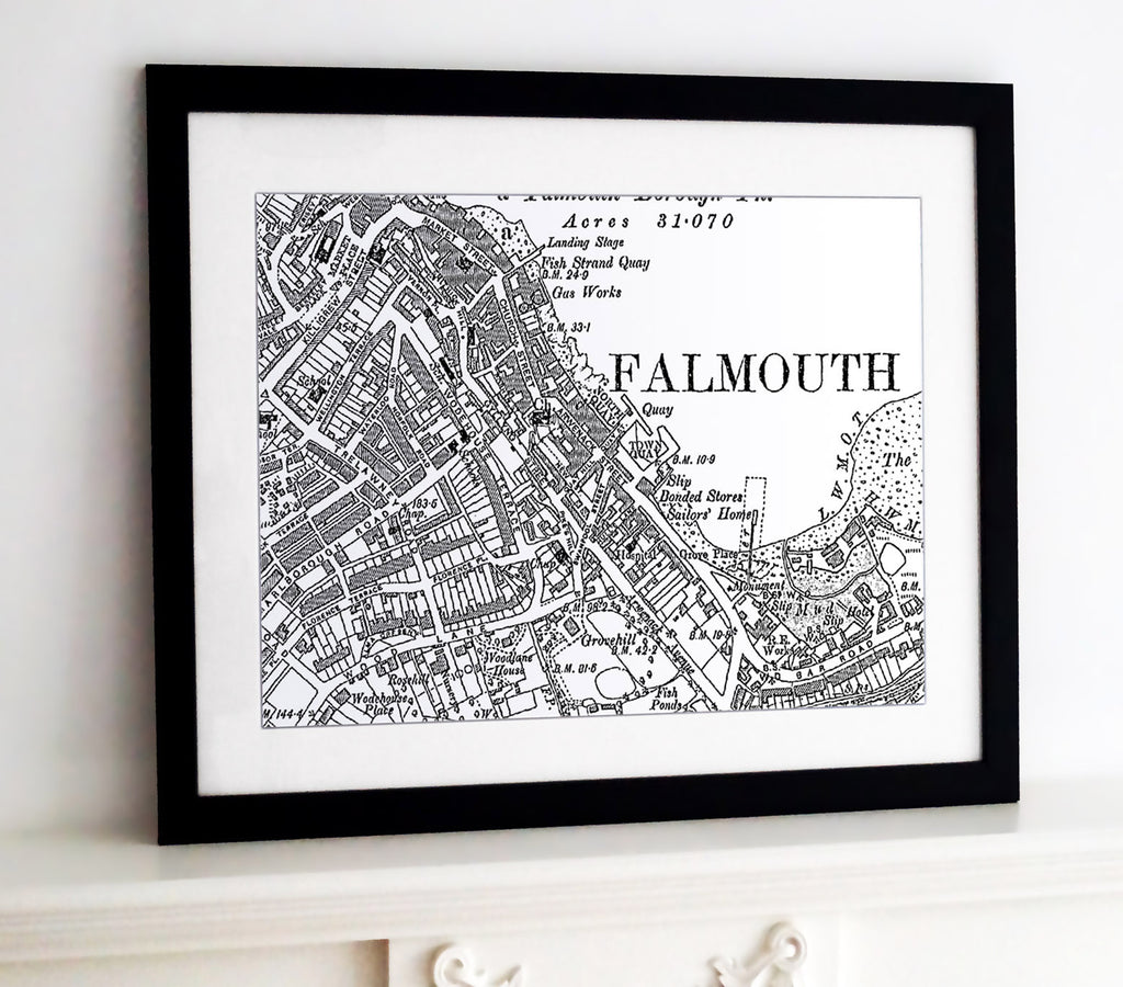 Framed Map - Custom Vintage Ordnance Survey Map - Victorian Street Map Framed Print- Love Maps On...