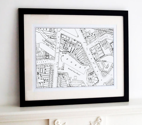 Framed Map - Custom Vintage Ordnance Survey Map - London Town Plans
