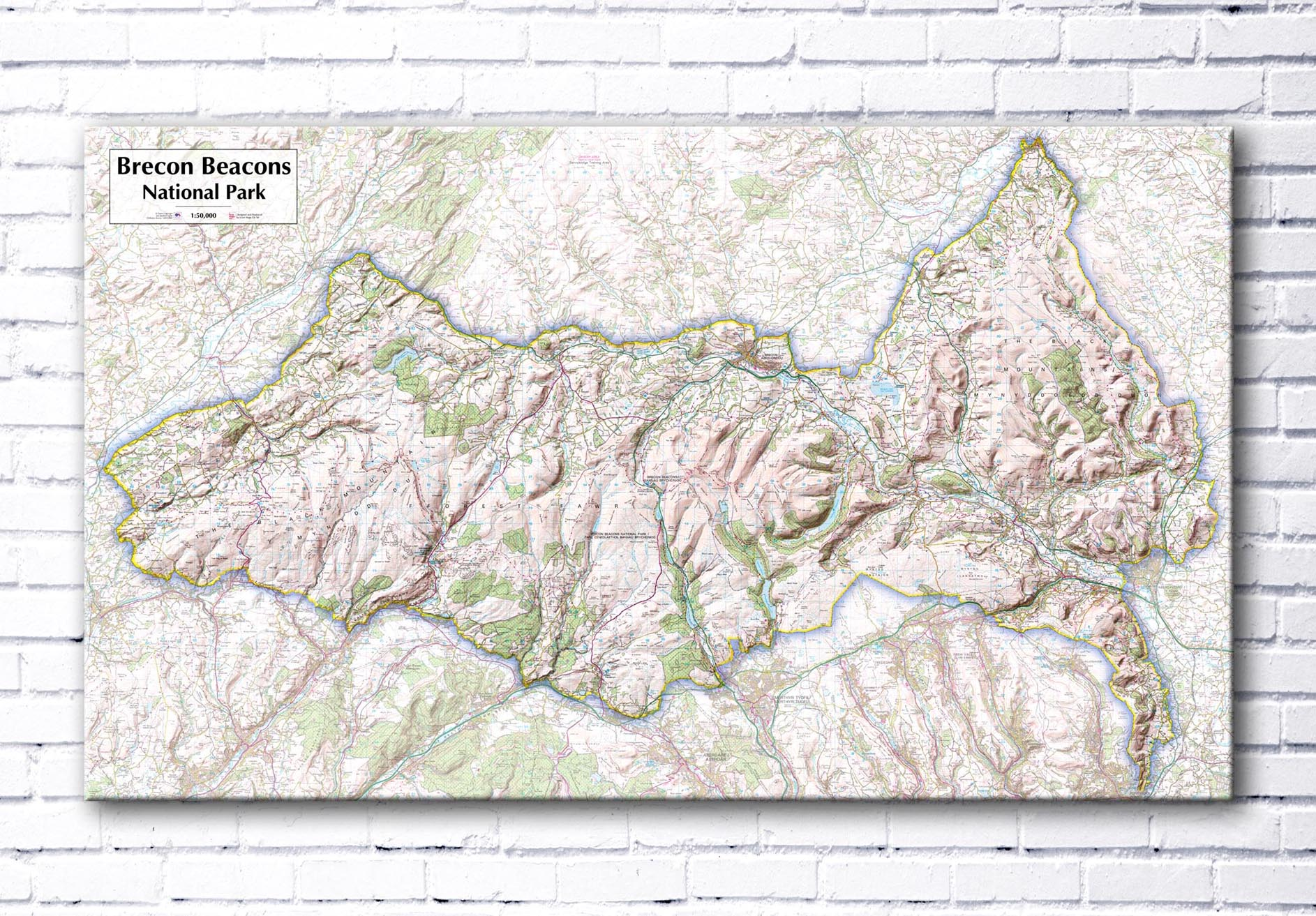 Brecon Beacons National Park - Canvas Print from Maps On... on offa's dyke map, salisbury map, anglesey map, thames path map, mourne mountains map, cardiff map, isles of scilly map, belfast map, somerset map, lake district map, ceredigion map, cambrian mountains map, hemel hempstead map, dartmoor map, ebbw vale map, ben nevis map, great britain map, river severn map, big bend national park map,