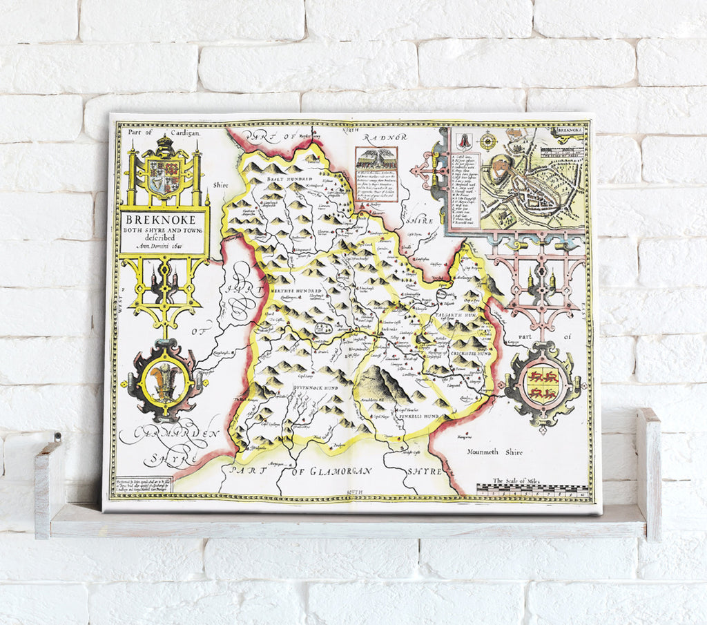 Map Canvas - Vintage County Map - Breconshire - Love Maps On...