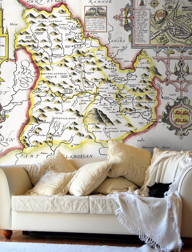 Map Wallpaper - Vintage County Map - Breconshire - Love Maps On... - 1