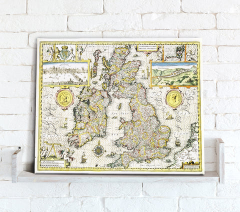Map Canvas - Vintage County Map - British Isles