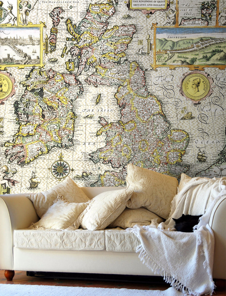 Map Wallpaper - Vintage County Map - British Isles - Love Maps On... - 1