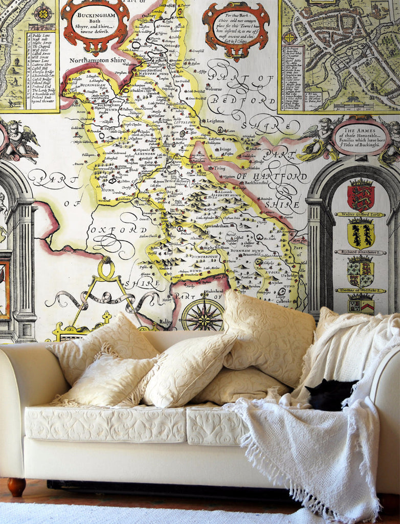 Map Wallpaper - Vintage County Map - Buckinghamshire - Love Maps On... - 1