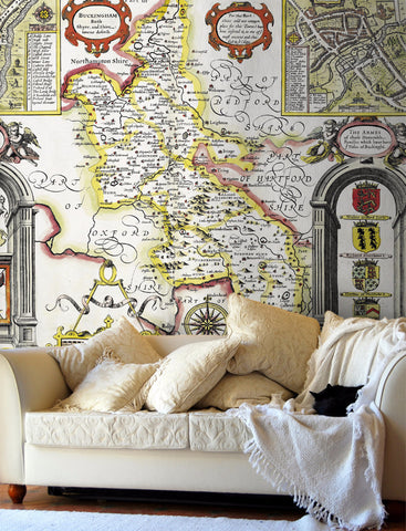Map Wallpaper - Vintage County Map - Buckinghamshire