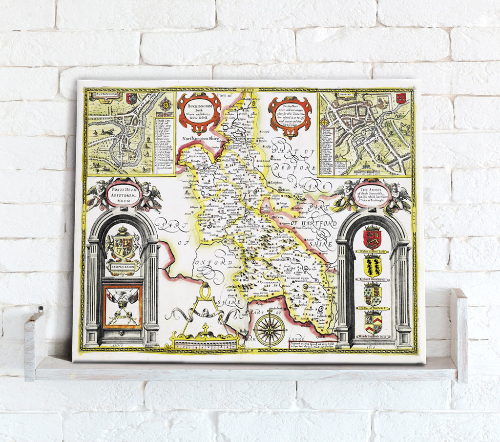 Map Canvas - Vintage County Map - Buckinghamshire - Love Maps On...