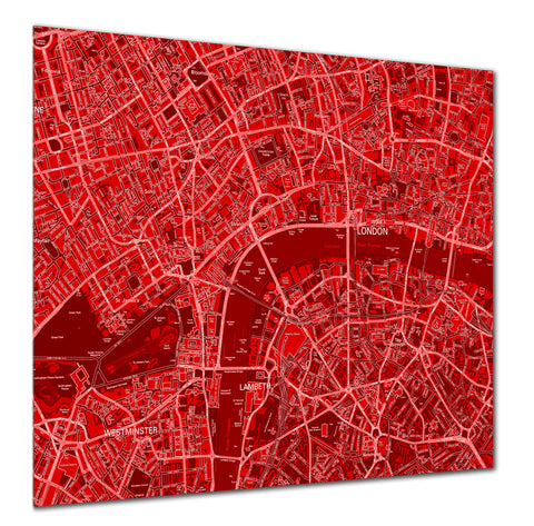 Map Poster - London Streetmap - Reversed Red