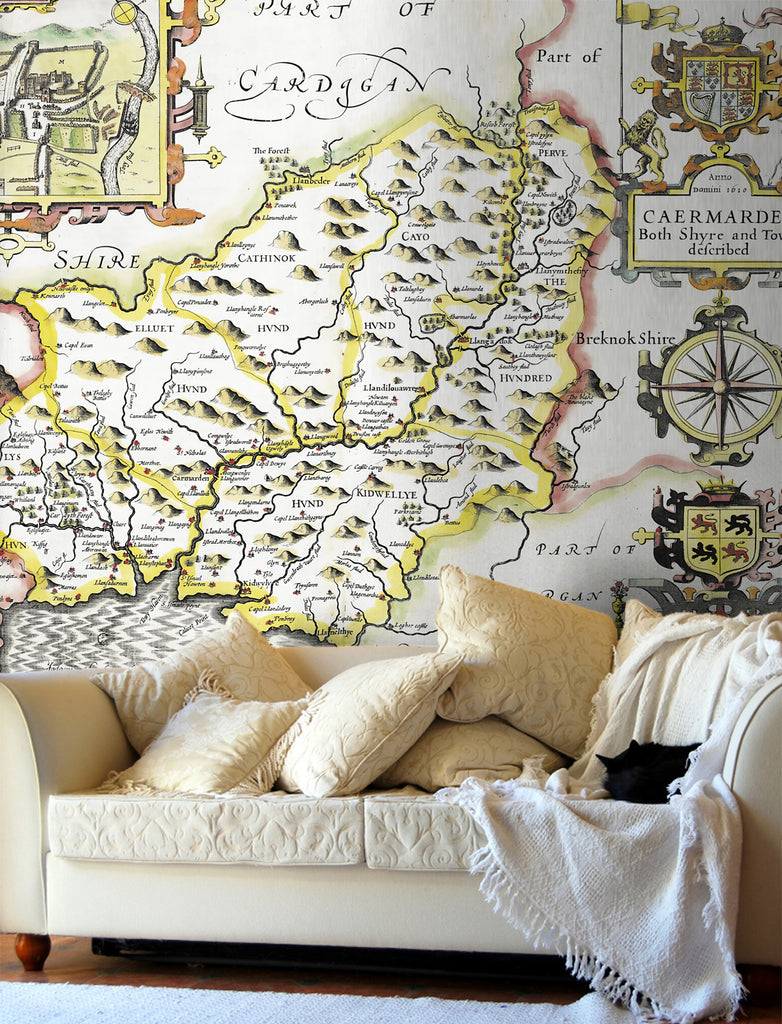 Map Wallpaper - Vintage County Map - Carmarthenshire - Love Maps On... - 1
