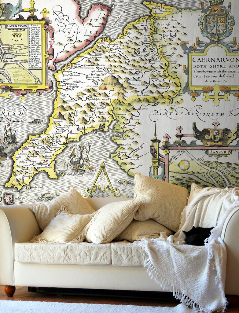 Map Wallpaper - Vintage County Map - Caernarvonshire - Love Maps On... - 1