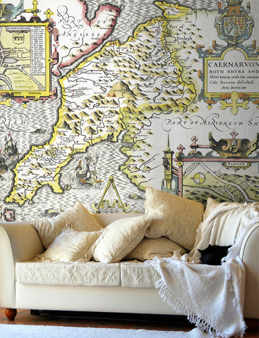 Map Wallpaper - Vintage County Map - Caernarvonshire