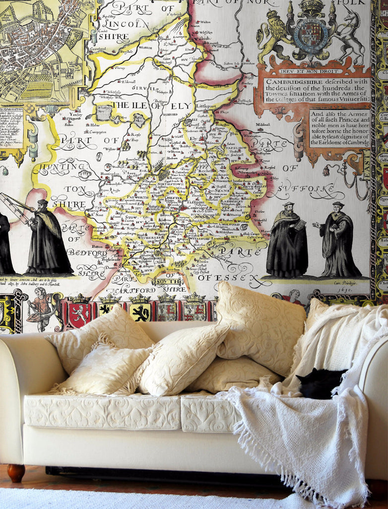 Map Wallpaper - Vintage County Map - Cambridgeshire - Love Maps On... - 1