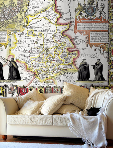 Map Wallpaper - Vintage County Map - Cambridgeshire