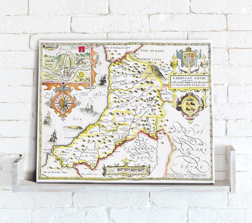 Map Canvas - Vintage County Map - Cardiganshire - Love Maps On...