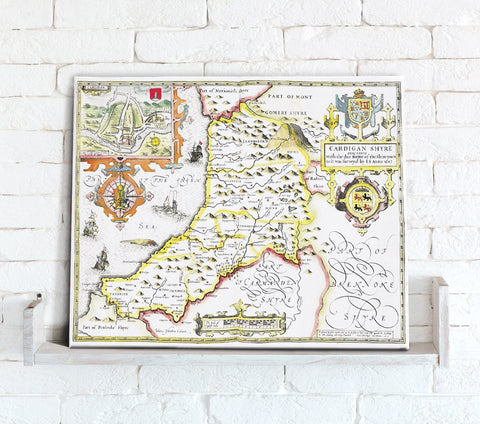 Map Canvas - Vintage County Map - Cardiganshire