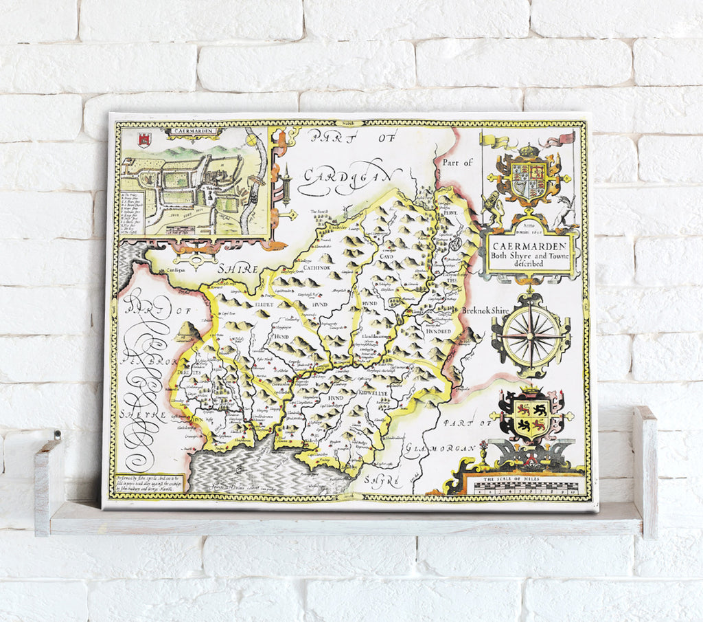 Map Canvas - Vintage County Map - Carmarthenshire - Love Maps On...