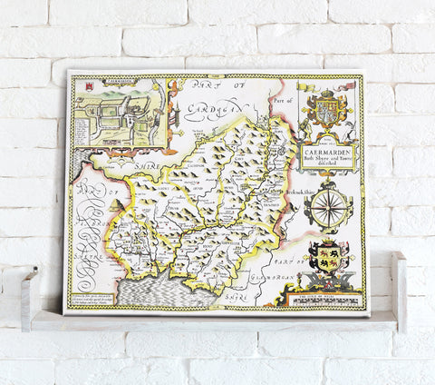 Map Canvas - Vintage County Map - Carmarthenshire
