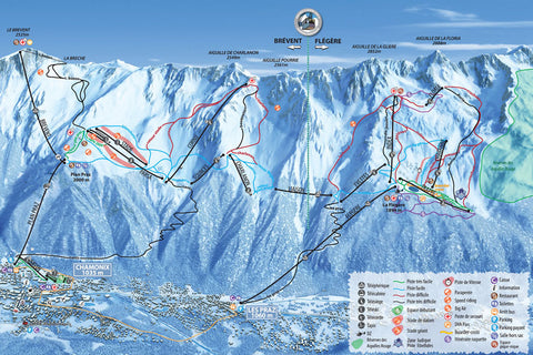 Chamonix - Piste Map Canvas Print