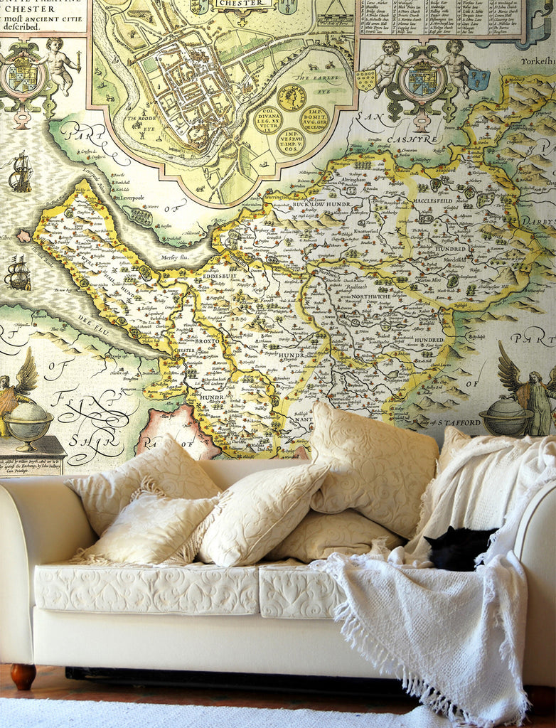 Map Wallpaper - Vintage County Map - Cheshire - Love Maps On... - 1