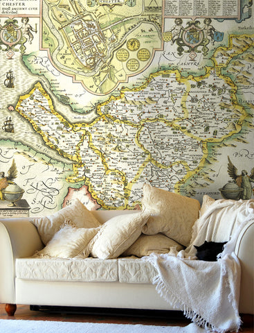Map Wallpaper - Vintage County Map - Cheshire