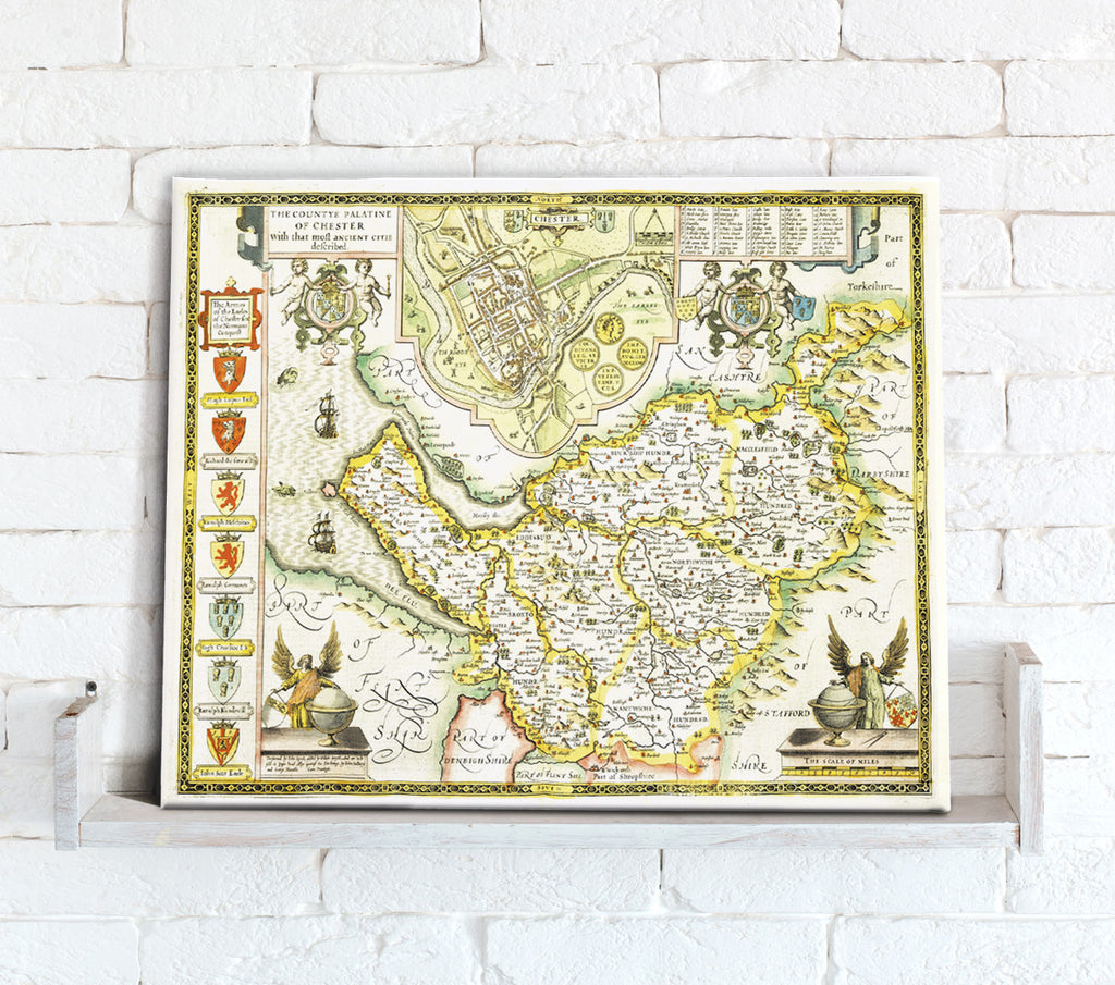 Map Canvas - Vintage County Map - Cheshire - Love Maps On...
