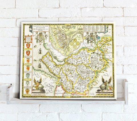 Map Canvas - Vintage County Map - Cheshire