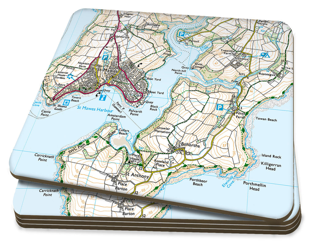 Map Coasters - Personalised Ordnance Survey Explorer Map - Love Maps On... - 1