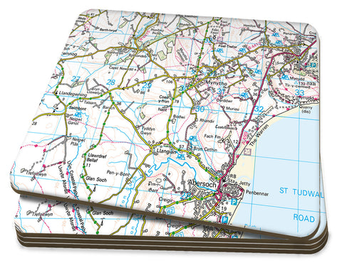 Map Coasters - Personalised Ordnance Survey Landranger Map