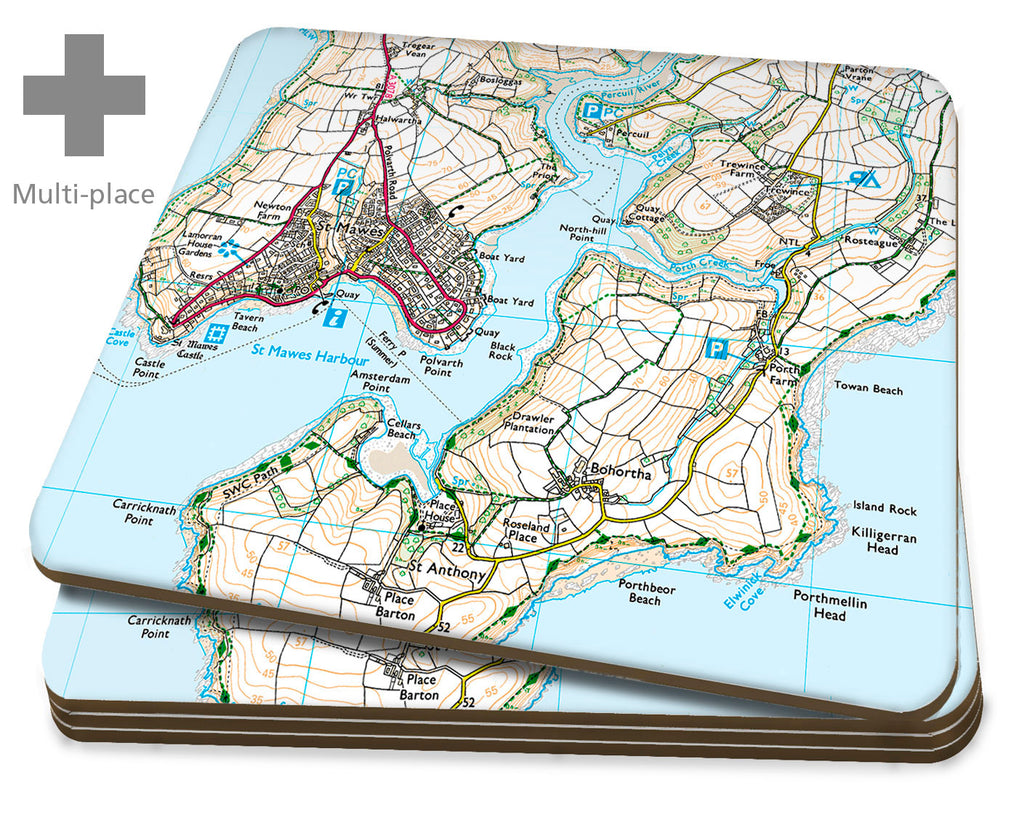 Map Coasters - Multi Place Personalised Ordnance Survey Explorer Map Placemats- Love Maps On...