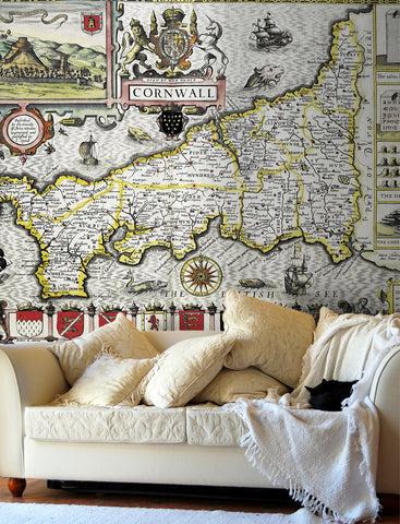 Map Wallpaper - Vintage County Map - Cornwall