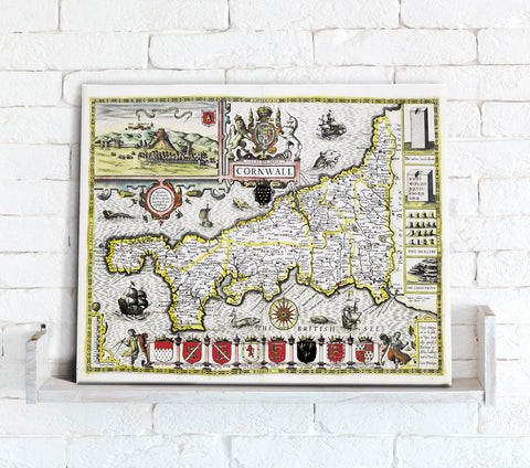 Map Canvas - Vintage County Map - Cornwall