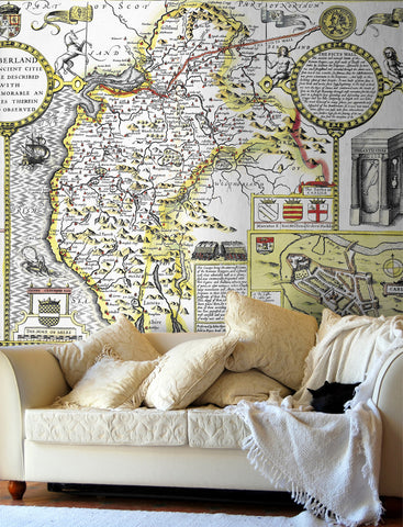 Map Wallpaper - Vintage County Map - Cumberland