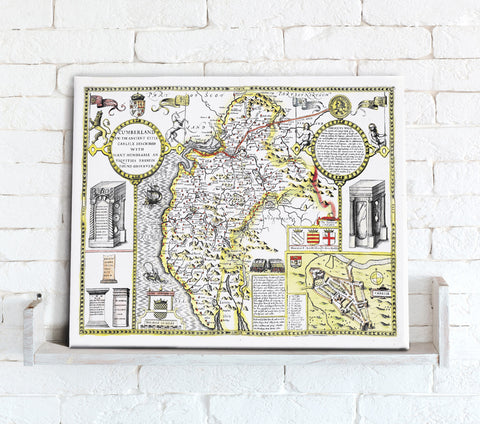 Map Canvas - Vintage County Map - Cumberland