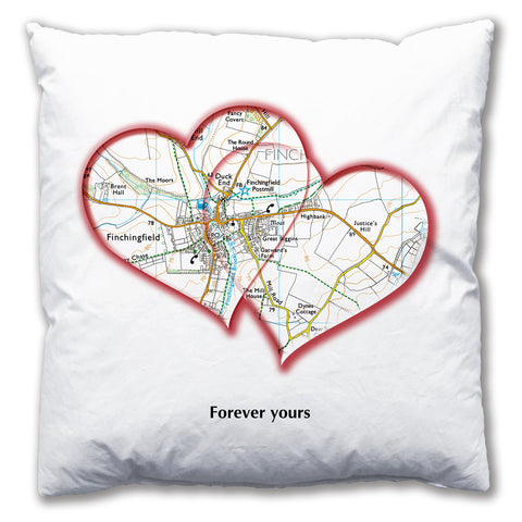 Personalised Love Hearts Map Cushion
