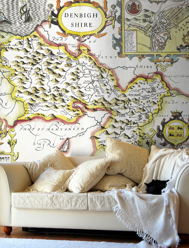 Map Wallpaper - Vintage County Map - Denbighshire - Love Maps On... - 1
