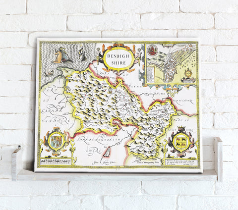 Map Canvas - Vintage County Map - Denbighshire