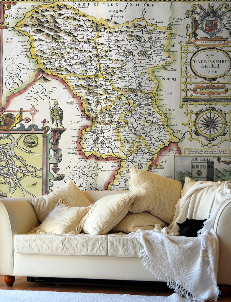 Map Wallpaper - Vintage County Map - Derbyshire - Love Maps On... - 1