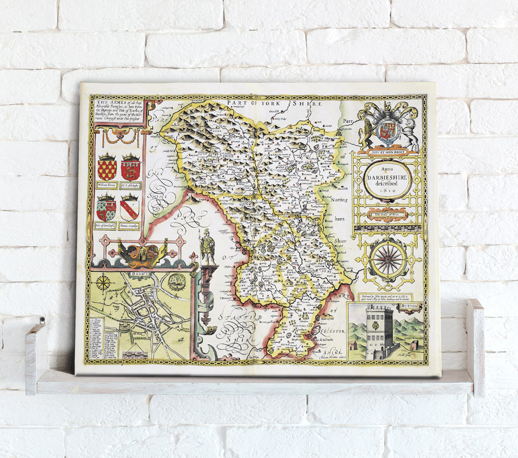 Map Canvas - Vintage County Map - Derbyshire - Love Maps On...