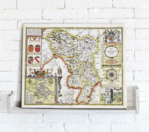 Map Canvas - Vintage County Map - Derbyshire