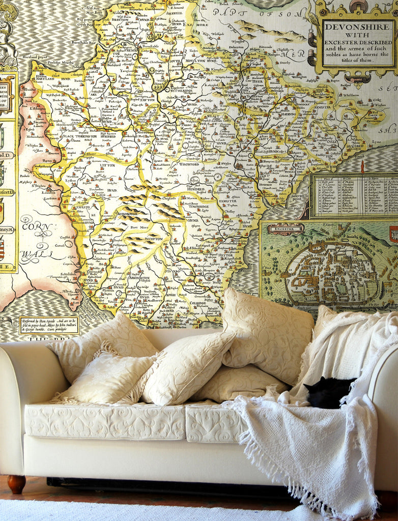 Map Wallpaper - Vintage County Map - Devon - Love Maps On... - 1