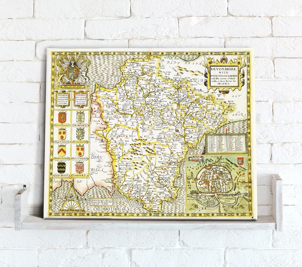 Map Canvas - Vintage County Map - Devon - Love Maps On...