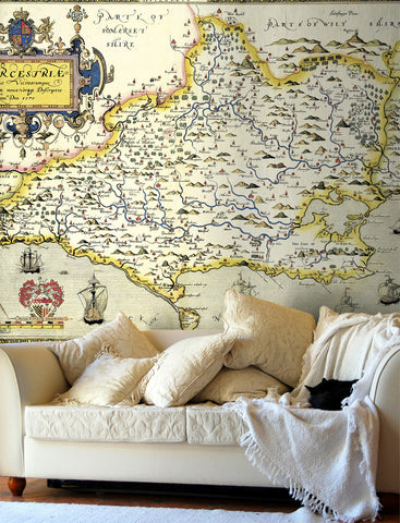 Map Wallpaper - Vintage County Map - Dorset