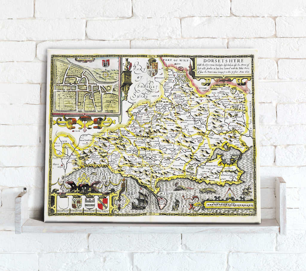Map Canvas - Vintage County Map - Dorset - Love Maps On...
