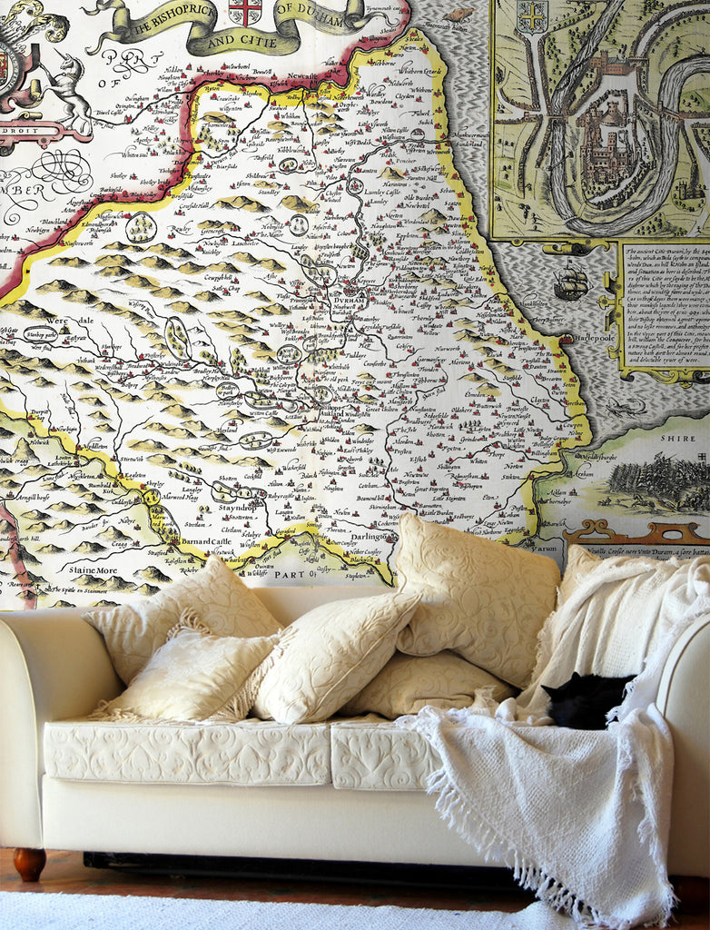 Map Wallpaper - Vintage County Map - Durham - Love Maps On... - 1