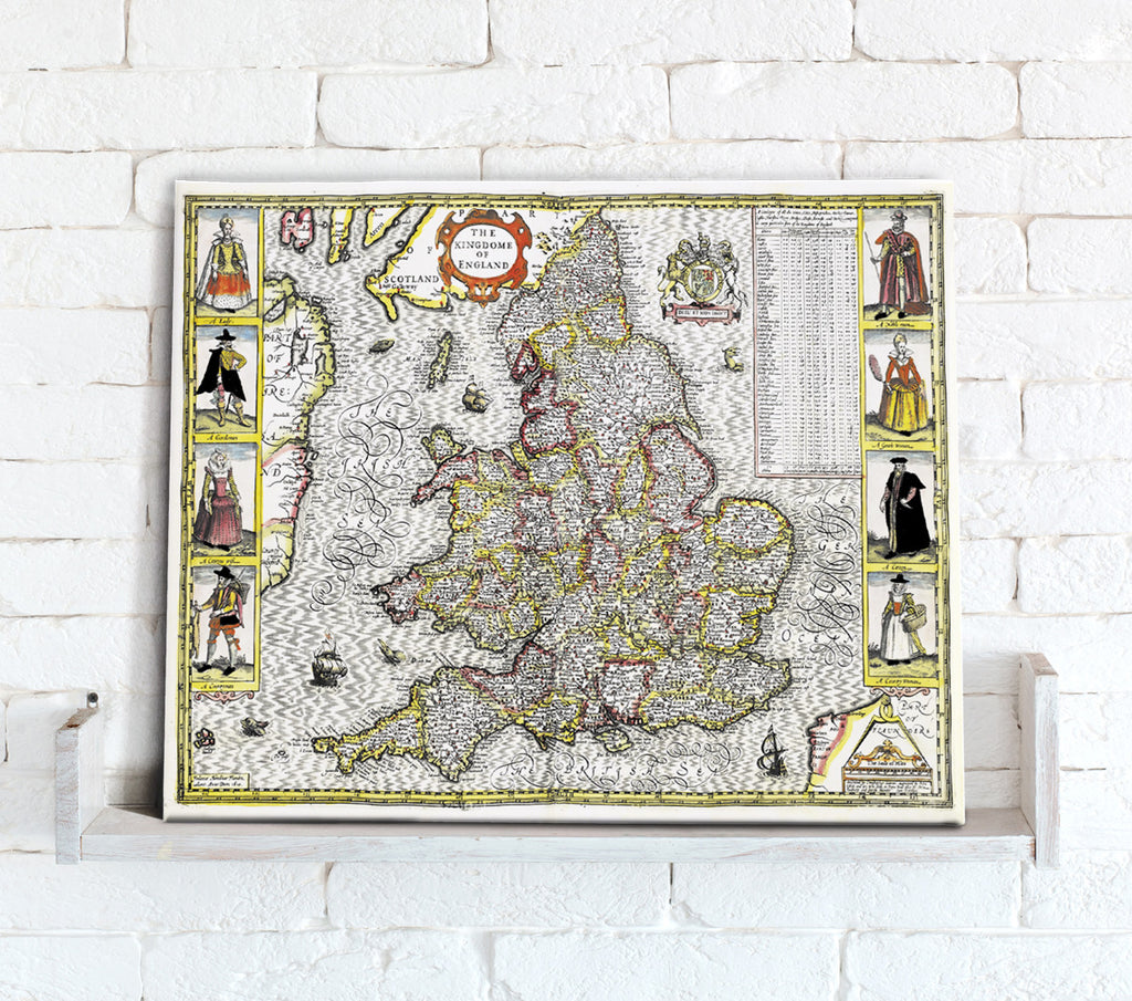 Map Canvas - Vintage County Map - England and Wales - Love Maps On... - 1