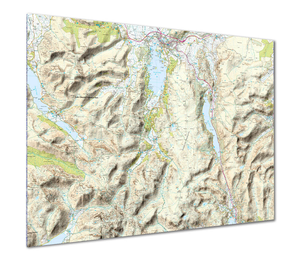 Map Poster - Custom Ordnance Survey Explorer Map with hillshading