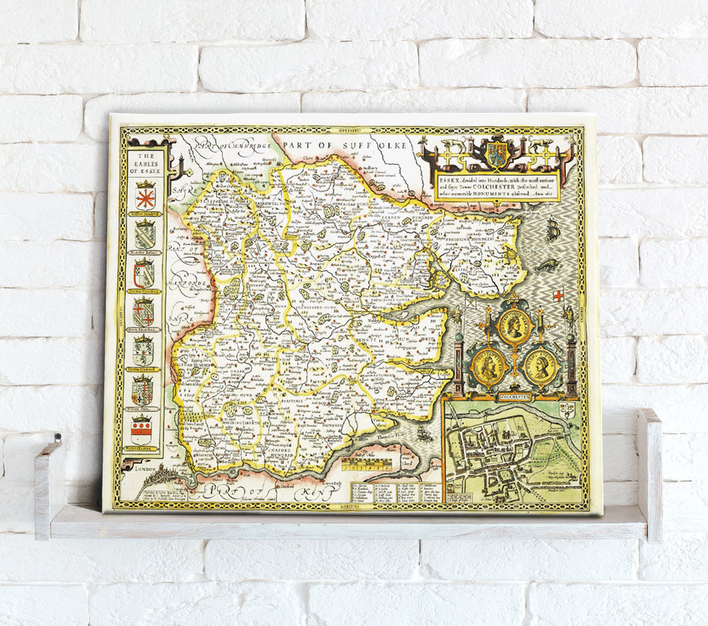 Map Canvas - Vintage County Map - Essex - Love Maps On...