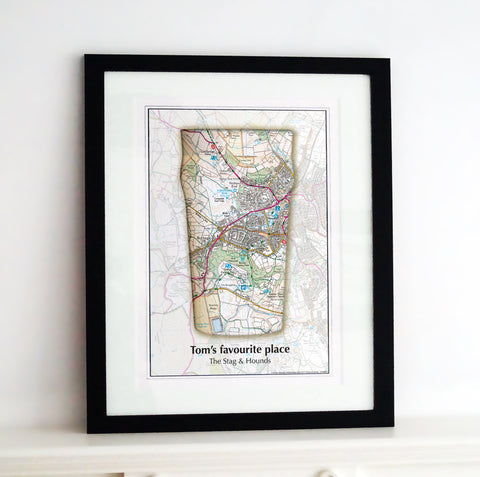 Framed Map - Personalised Beer Glass Map